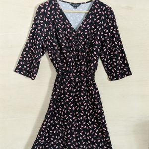 DOROTHY PERKINS Black Floral Wrap Dress with Tie